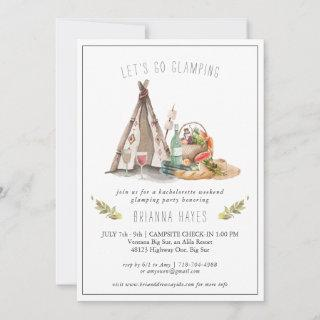 Bachelorette Glamping Camping Weekend Invitations