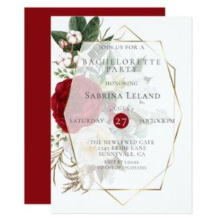 Bachelorette Party | Burgundy Ivory Peonies Invitations