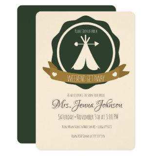 Bachelorette Party Camping Weekend Tent Badge Invitation