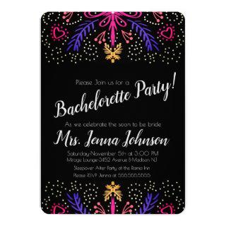 Bachelorette Party Dotted Floral Chic Invitation