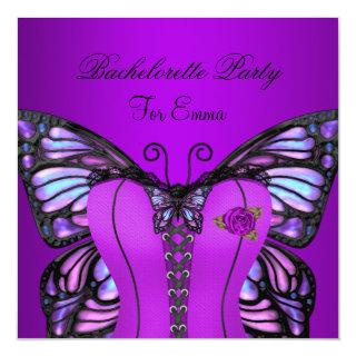 Bachelorette Party Purple Lilac Corset Butterfly Invitations