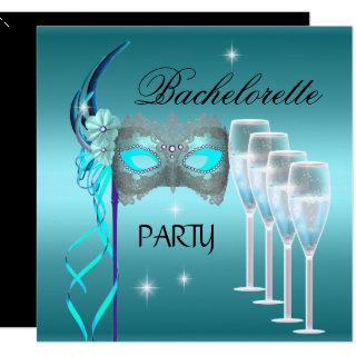 Bachelorette Party Teal Blue Mask Champagne Invitations