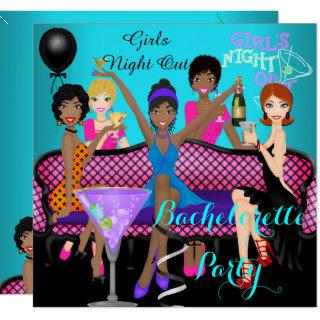 Bachelorette Party Teal Pink Fun Girls Cocktails 4 Invitation