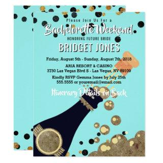 Bachelorette Party Weekend Itinerary Champagne Invitation