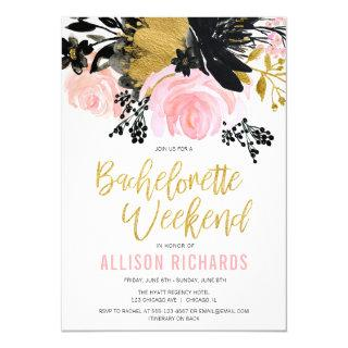 Bachelorette weekend blush pink black gold floral invitation