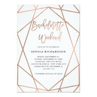 Bachelorette Weekend | Faux Rose Gold Geometric Invitations
