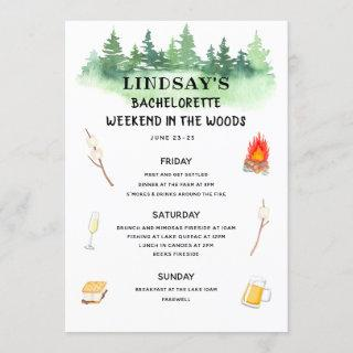 Bachelorette Weekend in the Woods Itinerary Invitations