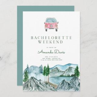 Bachelorette Weekend in Woods Cabin Lake Camping  Invitation