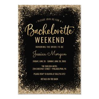 Bachelorette Weekend Itinerary Black Gold Frame Invitations