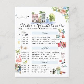 Bachelorette Weekend Itinerary | Charleston, SC Invitations Postcard