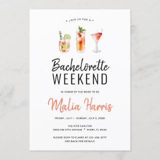Bachelorette Weekend Itinerary Cocktail Drinks Invitations