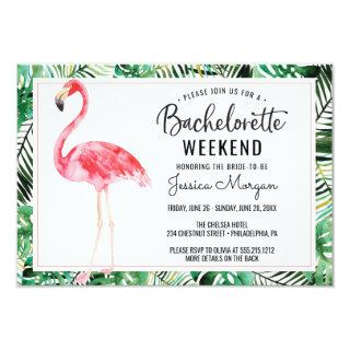 Bachelorette Weekend Itinerary Flamingo Tropical Invitation