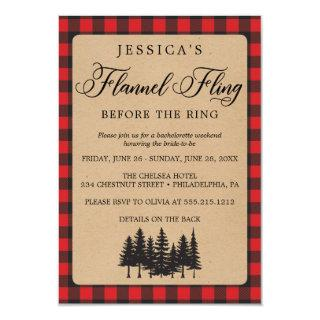 Bachelorette Weekend Itinerary Flannel Fling Invitation
