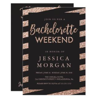 Bachelorette Weekend Itinerary Glitter Stripes Invitations