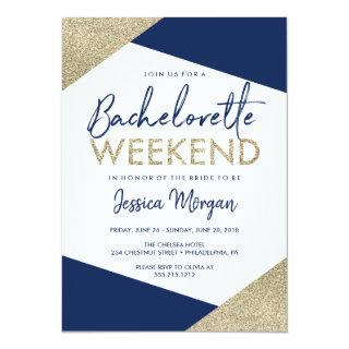 Bachelorette Weekend Itinerary Navy Invitation