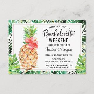 Bachelorette Weekend Itinerary Pineapple Tropical Invitations