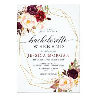 Bachelorette Weekend Itinerary Rustic Burgundy Invitation