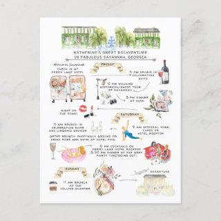 Bachelorette Weekend Itinerary | Savannah, Georgia Invitations Postcard