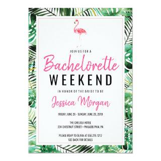 Bachelorette Weekend Itinerary Tropical Flamingo Invitations