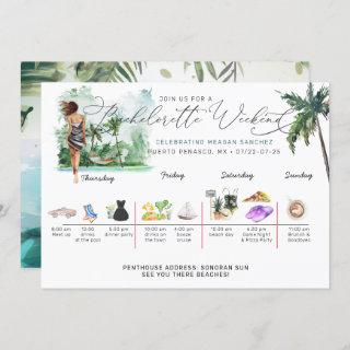 Bachelorette Weekend Itinerary   Tropical Palm Invitations