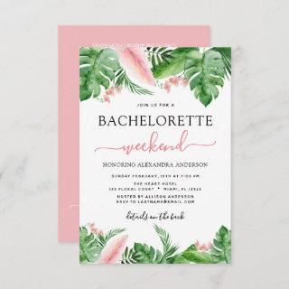 Bachelorette Weekend Itinerary Tropical Palms Invitations