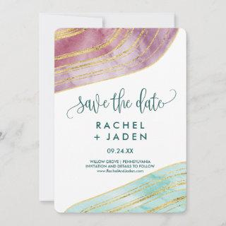 Banded Gemstone | Mauve Save the Date Card