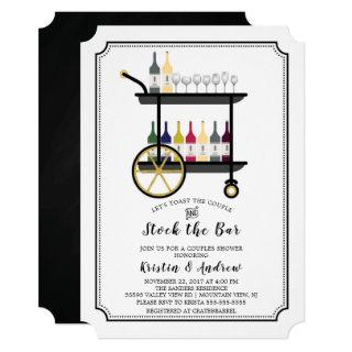 Bar Cart Stock the Bar Couples Shower Invitations