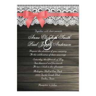 Barn Wood and Lace coral bow Wedding Invitations