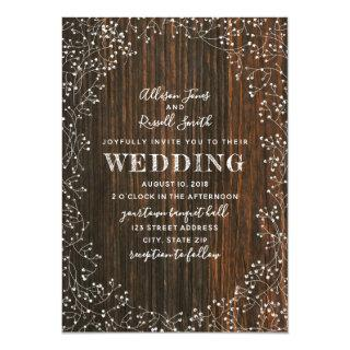 Barn Wood + Baby's Breath Calligraphy Wedding Invitations