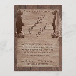 Barn Wood Bears Country Wedding Invitation