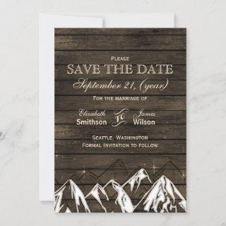 Barn wood Camping Rustic Mountains save the date