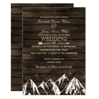 Barn wood Camping Rustic Mountains Wedding Invitation
