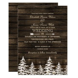 Barn wood Rustic Pine trees winter wedding Invitations
