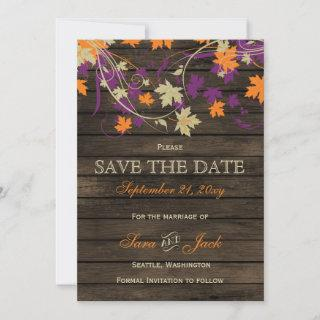 Barn wood Rustic plum fall leaves save the date