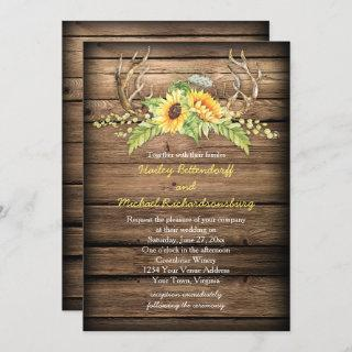 Barn Wood Sunflowers Antlers with RSVP Wedding Invitations