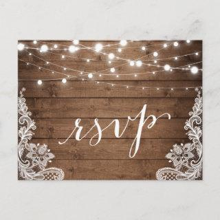 Barn Wood Twinkle Lights Lace Rustic Wedding RSVP Invitations Postcard