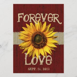 Barnwood and Burlap Sunflower Wedding Invitations