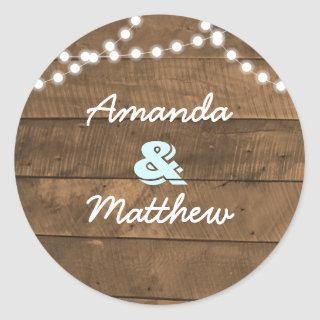Barnwood Lights Aqua Personalized Classic Round Sticker