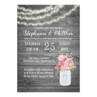 Barnwood with Watercolor Peonies and Garden Lights Invitation