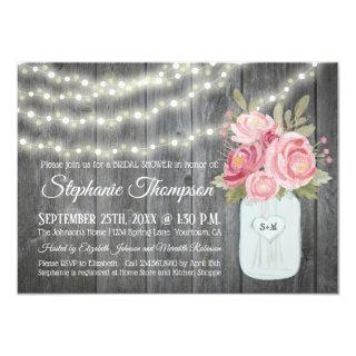 Barnwood with Watercolor Peonies and Garden Lights Invitations