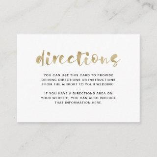 Basic Elegant Faux Gold | Driving Directions Enclosure Card