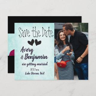 Basic Turquoise Save the Date Card