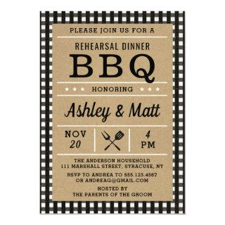 BBQ Plaid Rehearsal Dinner Invitation