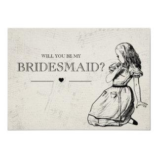 Be My Bridesmaid Vintage Alice in Wonderland Invitations