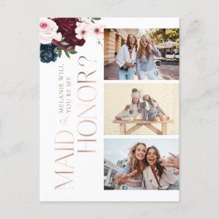 Be My Maid of Honor? Burgundy & Navy Florals Photo Invitations Postcard