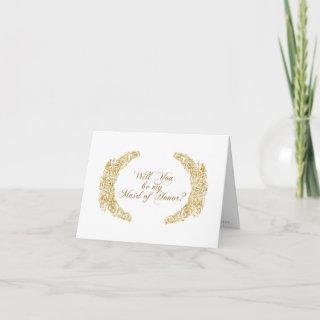 Be my Maid of Honor Engraved Gold Flower Leaf Art Invitations