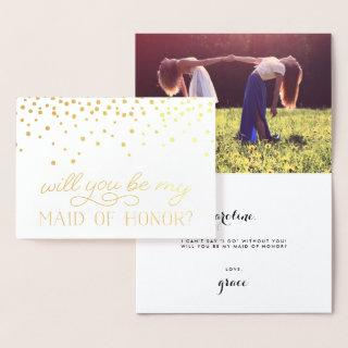 Be My Maid of Honor | Personalized Photo Gold Foil Card