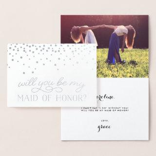 Be My Maid of Honor | Personalized Photo Silver Foil Card
