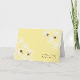 Be My Maid of Honour Honey Bees on Yellow Invitations