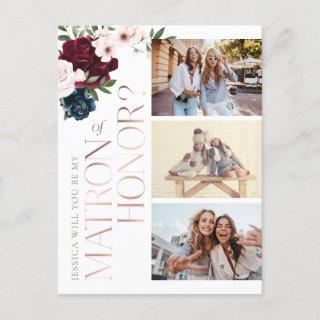 Be My Matron of Honor? Burgundy Navy Florals Photo  Postcard